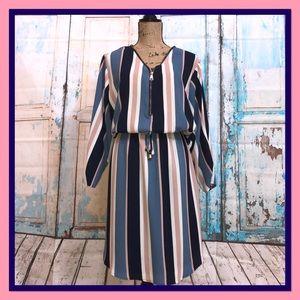 Dresses - ➕Navy & Pink Striped Shirt Dress